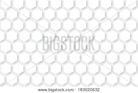 White abstract seamless repeating hexagons pattern background