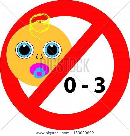Symbol not suitable for children 0-3 years isolated on  white background. Vector illustration