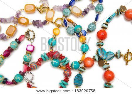 Elegant jewellery isolated on the whtie background