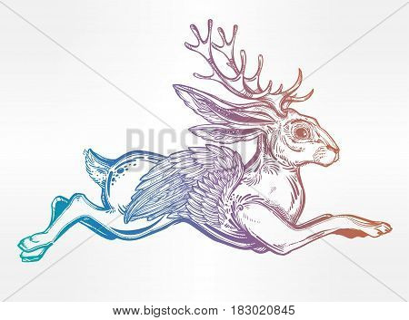 Jacalope flying wingedmagical creature, horned rabbit in American folklore. Ethnic design, mystic tribal boho symbol. For tattoo, t-shirt, fantasy card, poster idea. Isolated vector illustration