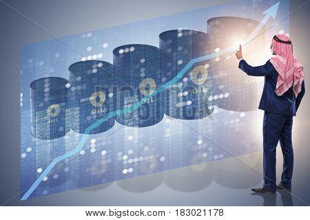 Arab businessman pressing virtual button