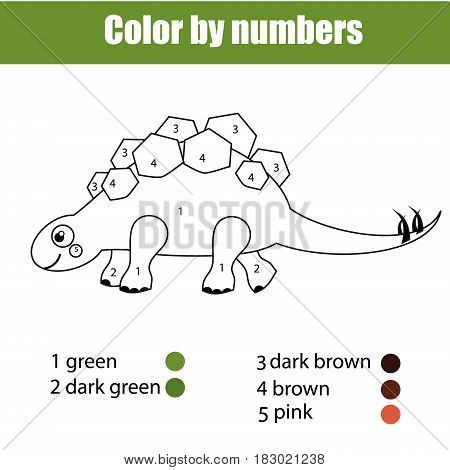 Coloring page with dinosaur stegosaurus. Color by numbers educational children game, drawing kids activity, printable sheet.