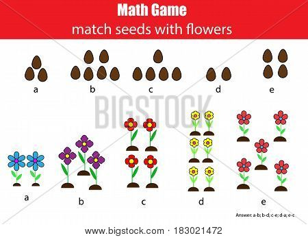 Math educational game for children. Matching mathematis activity. Counting game for kids with answer