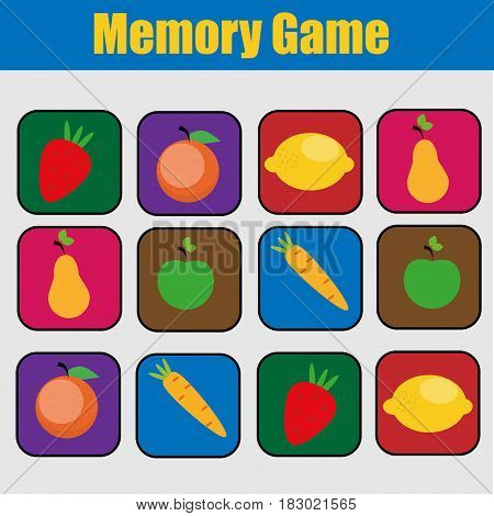 Educational children game, kids activity. Memory game, friuts and vegetables theme. Find pairs of same images