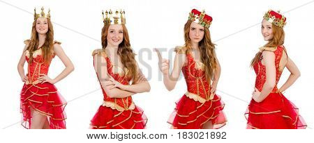 Queen in red dress isolated on white