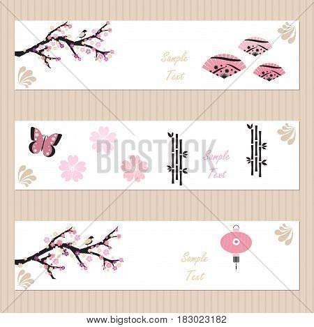 Three banners with cherry blossoms and Japanese culture elements