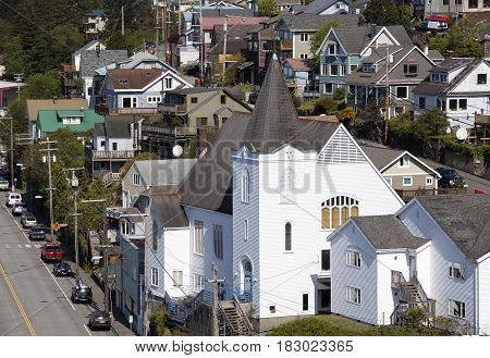 The view of historic First Lutheran Church built in 1930 in Ketchikan town (Alaska).