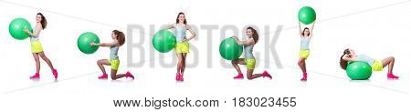 Young woman with ball exercising on white