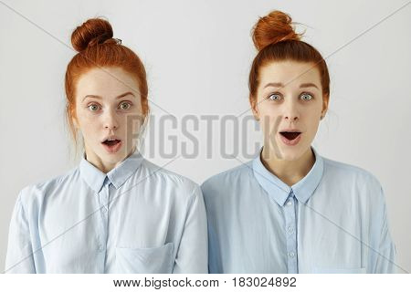 Studio shot of two sisters or friends looking alike with their identical blue shirts and same hairstyles looking at camera in full disbelief shocked or surprised with some news gossips or rumours