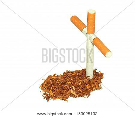 Symbolic grave of tobacco and a cross of cigarettes isolated on white background