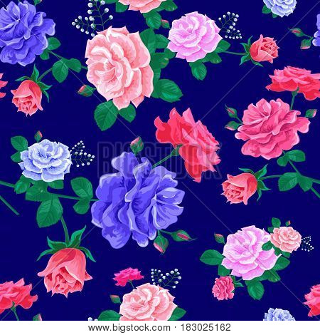 Beautiful seamless pattern with pink, blue roses on a blue background. Magnificent bouquet.Vector illustration in the style of shabby chic.Print for book covers, textile, fabric, wrapping gift paper