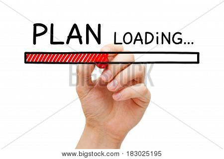 Hand drawing Plan loading bar concept with marker on transparent wipe board.