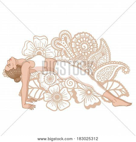 Women silhouette. Upward Plank Pose. Purvottanasana Vector illustration