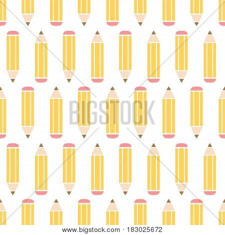 Flat design vector illustration. Seamless pattern with pencils on white background