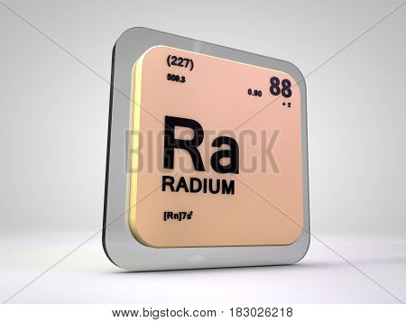 Radium - Ra - chemical element periodic table 3d illustration