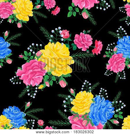 Magnificent bouquet.Seamless pattern with pink, yellow, blue roses on a black background.Vector illustration in retro style.Beautiful Print for book covers, textile, fabric, wrapping paper, scrapbooking.