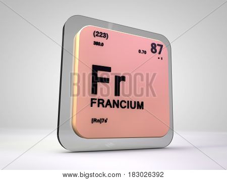 francium - Fr - chemical element periodic table 3d render