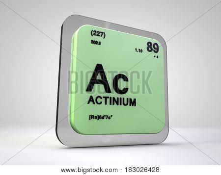 actinium - Ac - chemical element periodic table 3d render