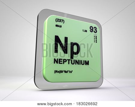 neptunium - Np - chemical element periodic table 3d render