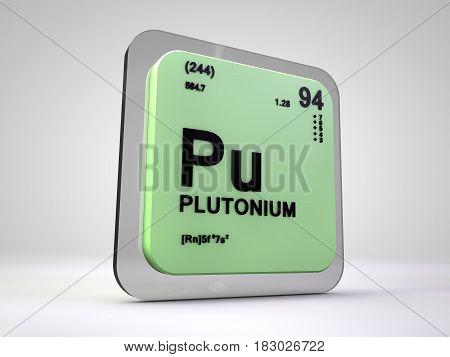 plutonium - Pu - chemical element periodic table 3d render