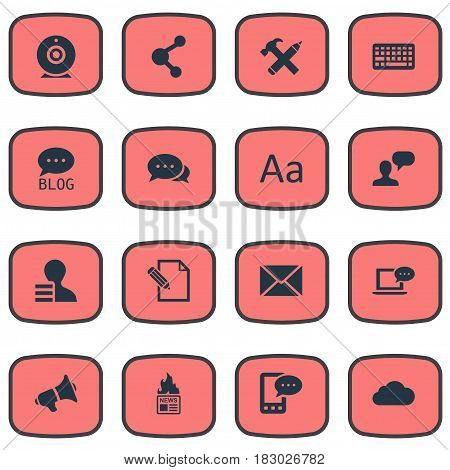 Vector Illustration Set Of Simple Blogging Icons. Elements Repair, Broadcast, Share And Other Synonyms Considering, Cloud And Share.