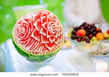 Carved flower in Watermelon in restaurant buffet