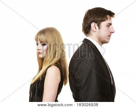 Argument and disagreement concept. Young elegant marriage with troubles problems. Depressed thoughtful worried couple after argue in separation. poster