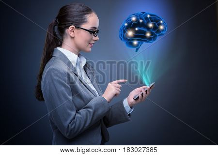 Businesswoman in artificial intelligence concept