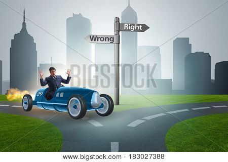 Right and wrong concept with businessman driving car