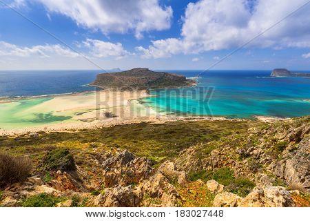 Amazing scenery of Balos beach on Crete, Greece