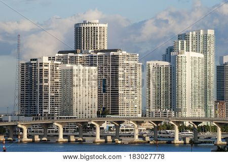 The skyline of Miami downtown in the morning (Florida).