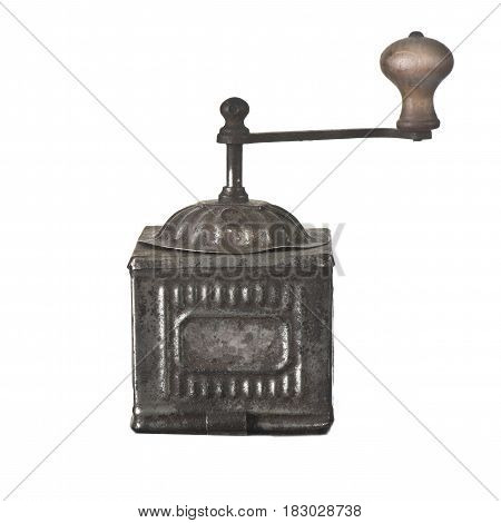 Old iron vintage coffee grinder on a white background