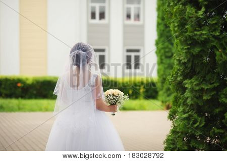 Bride posing on the outdoor. Photography is made from the bride's back