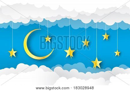 Sky paper art. Origami crescent moon, cloud and stars. Cloudscape. Vector illustration