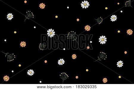 Flower seamless pattern. Field herbs daisy textile print decoration black background fashion traditional vector illustration vintage. Chamomile plant floral ditsy ornament art.
