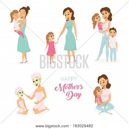 Moders day card. Mom, daughter and son huging, cooking on kitchen, spa. Happy family leisure. . Smiling cute women, boy and girl. Poster or baner with cartoon characters isolated on white