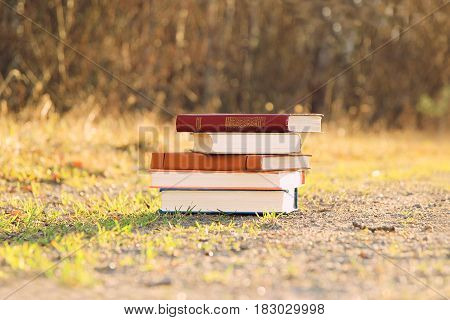 Books on nature sunny background. Sunny day. Mystic day. Mystic books