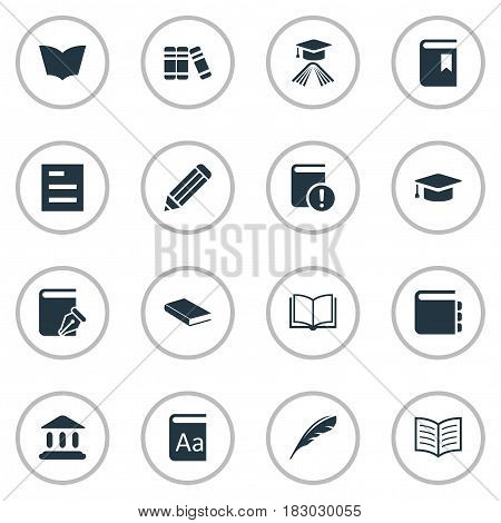Vector Illustration Set Of Simple Education Icons. Elements Reading, Alphabet, Sketchbook And Other Synonyms Hat, Textbook And Literature.