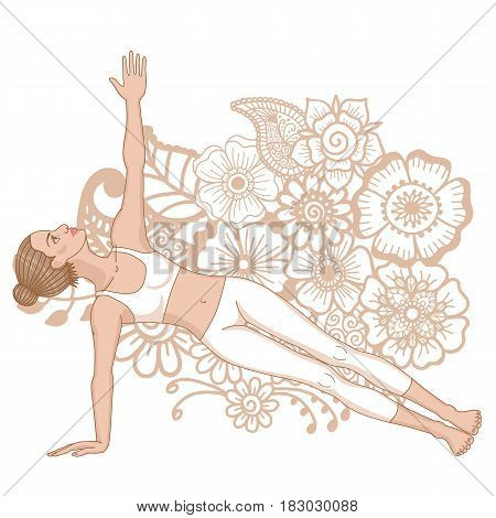 Women silhouette. Extended side plank yoga pose. Vasisthasana. Vector illustration