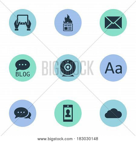 Vector Illustration Set Of Simple User Icons. Elements Overcast, Notepad, Profile And Other Synonyms Hot, Tablet And Hand.