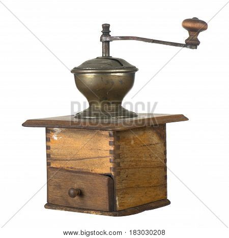 Ancient wooden coffee grinder with a lid and a handle on a white background