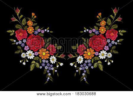 Embroidery flower rose poppy daisy gerbera herb sticker patch fashion print textile vector illustration art neckline