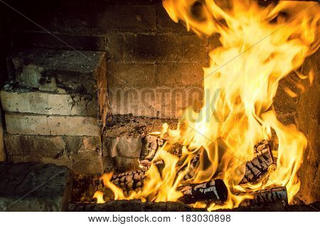 Burning firewoods in barbeque brick furnace close up. Fire and embers background.