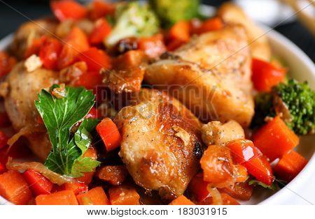 Chicken stir fry closeup
