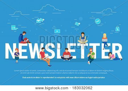 Newsletter subscribers concept illustration of young man and woman using laptop, digital tablets and smart phones for receiving commercial letters and promotion offers. Flat people and email distribution