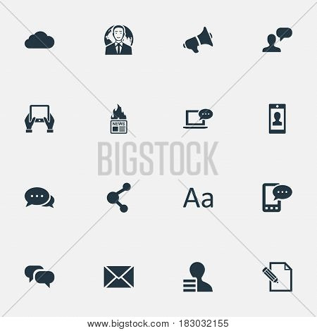 Vector Illustration Set Of Simple Newspaper Icons. Elements Laptop, Gain, Cedilla And Other Synonyms Share, Cloud And E-Letter.