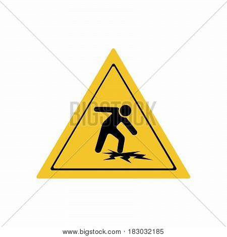 Warning thin ice sign vector design isolated on white background