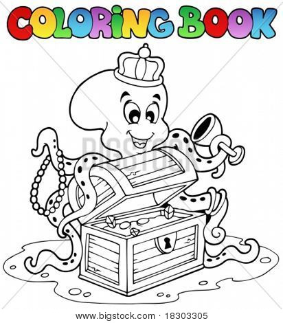 Coloring book with octopus - vector illustration.