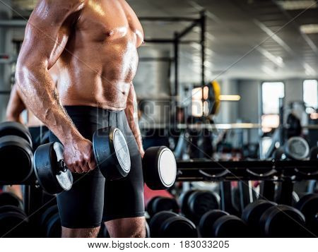 Young muscular man working out with dumbbells. Arm training and weightlifting in a gym. Sport and bodybuilding concept.