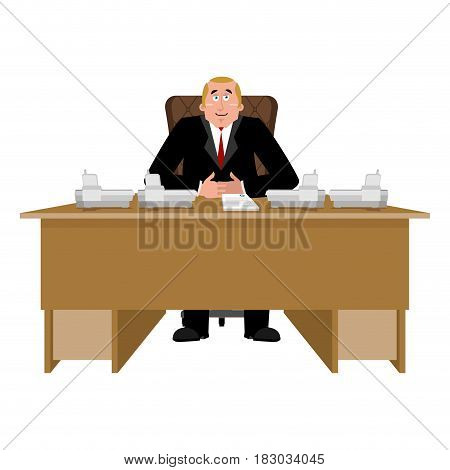 President At Desk. Big Boss At Table. Director In Office. Chief Worker Room